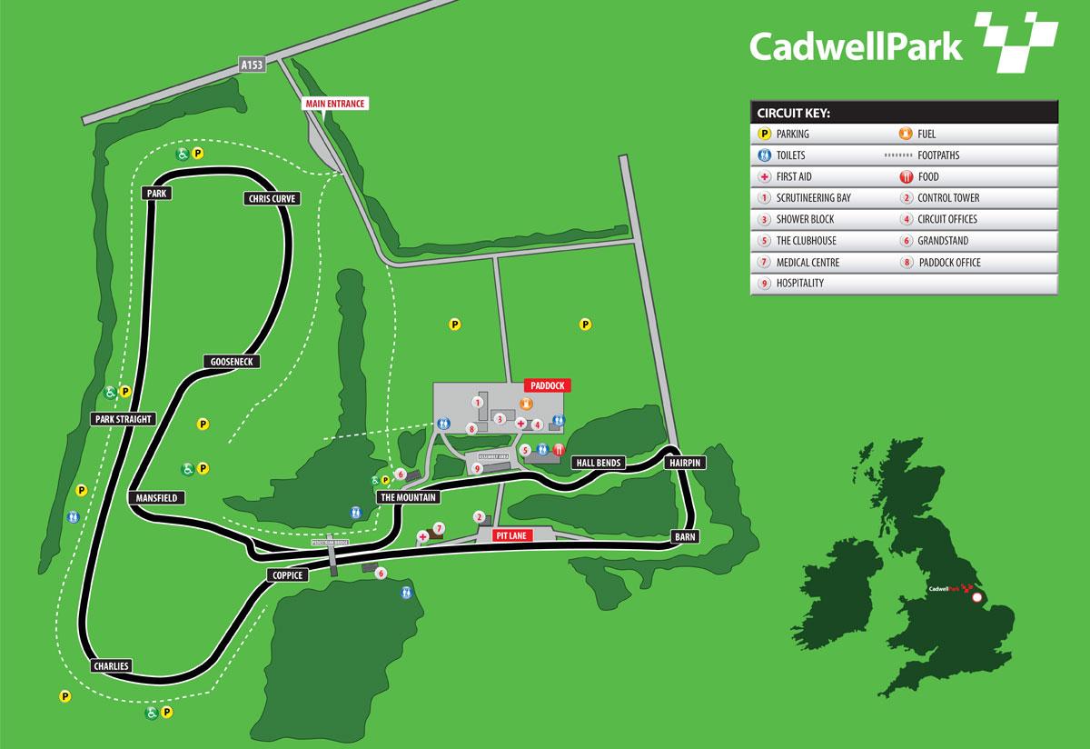La mappa del circuito di Cadwell Park