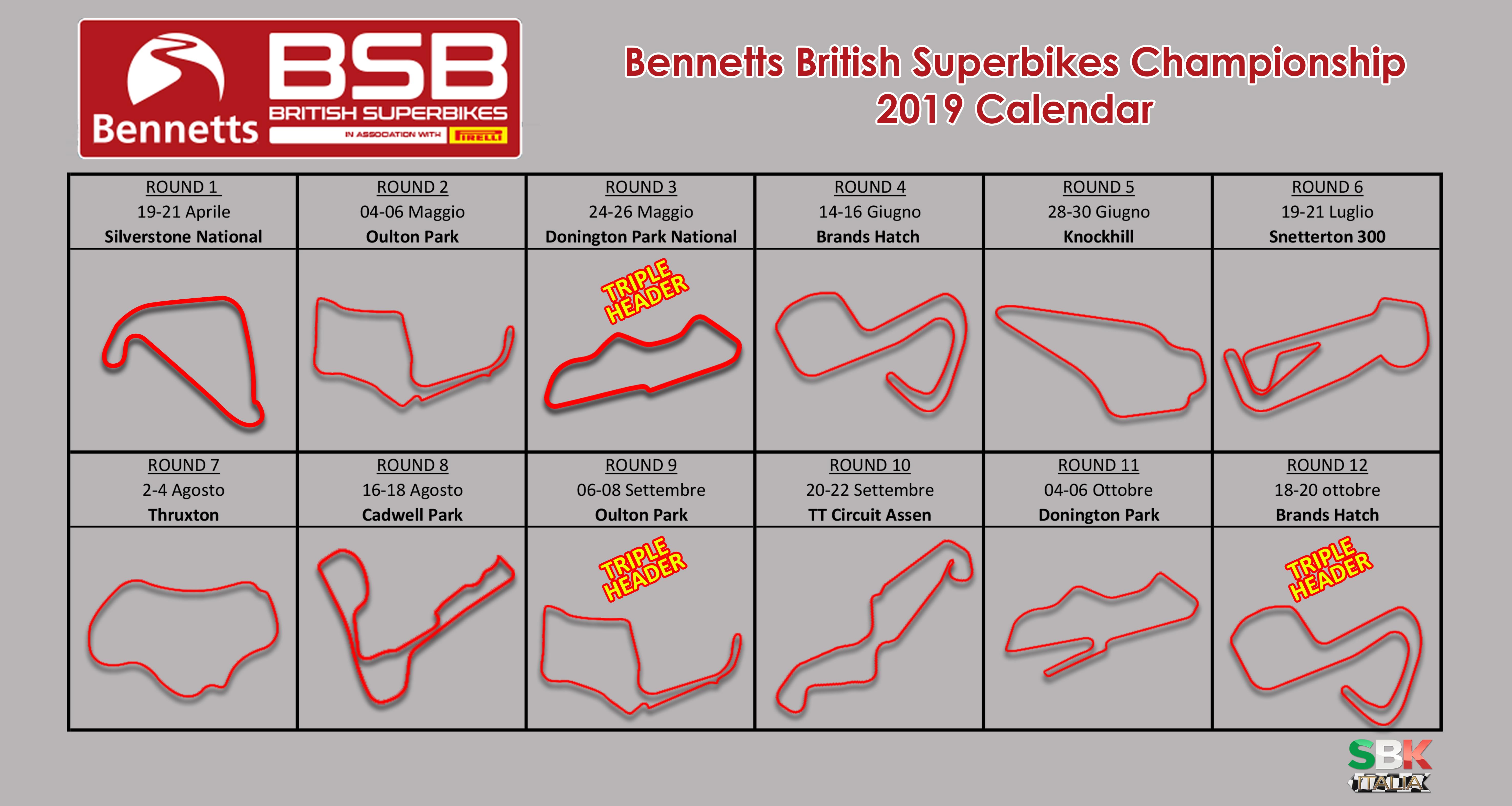 BritishSBK: 2019 calendar