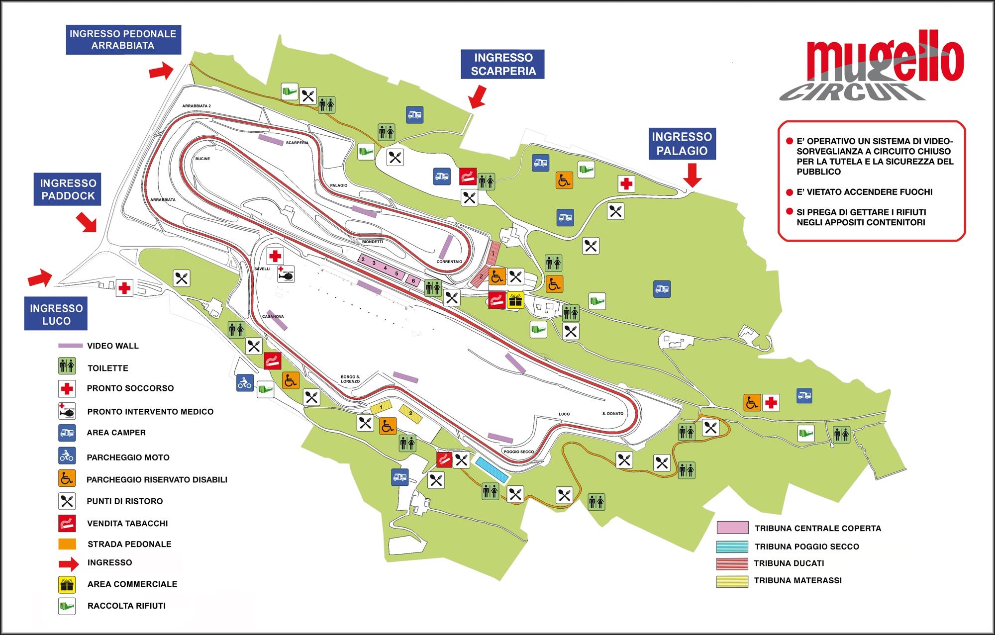 La mappa del Mugello Circuit