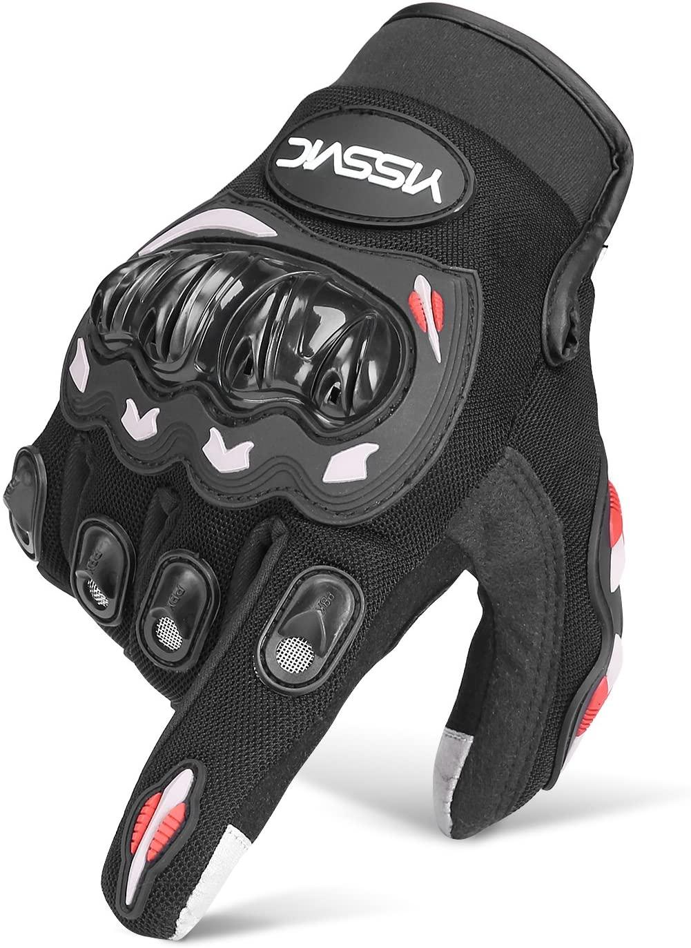 Yissvic Guanti da Moto Guanti Moto Marchio CE 1KP Touchscreen Antiscivolo con Fori Traspiranti Uomo