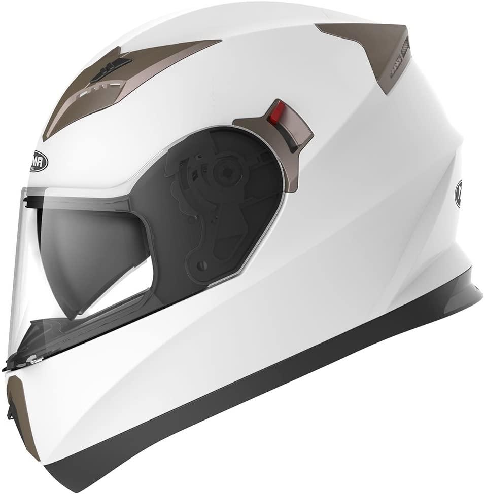 Casco Integrale Moto Scooter ECE Omologato - YEMA YM-829 Motorino Caschi Integrali Donna Uomo con Doppia Visiera Parasole