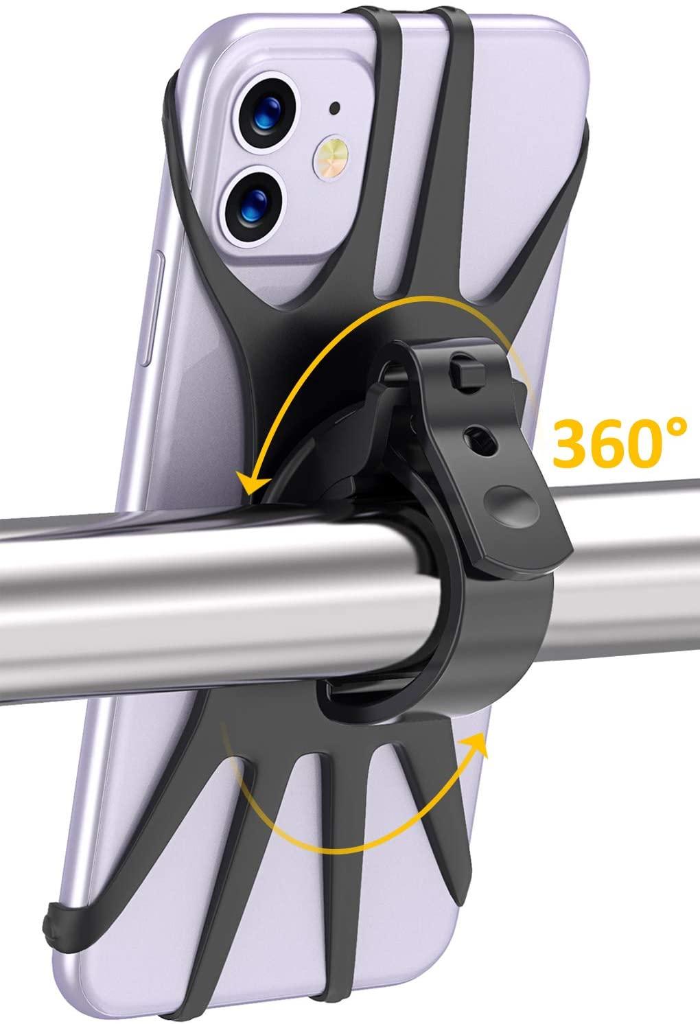 Cocoda Porta Cellulare Bici, Rotazione a 360° Porta Cellulare Moto, Anti Vibrazione Silicone Manubrio Universale, Porta Telefono