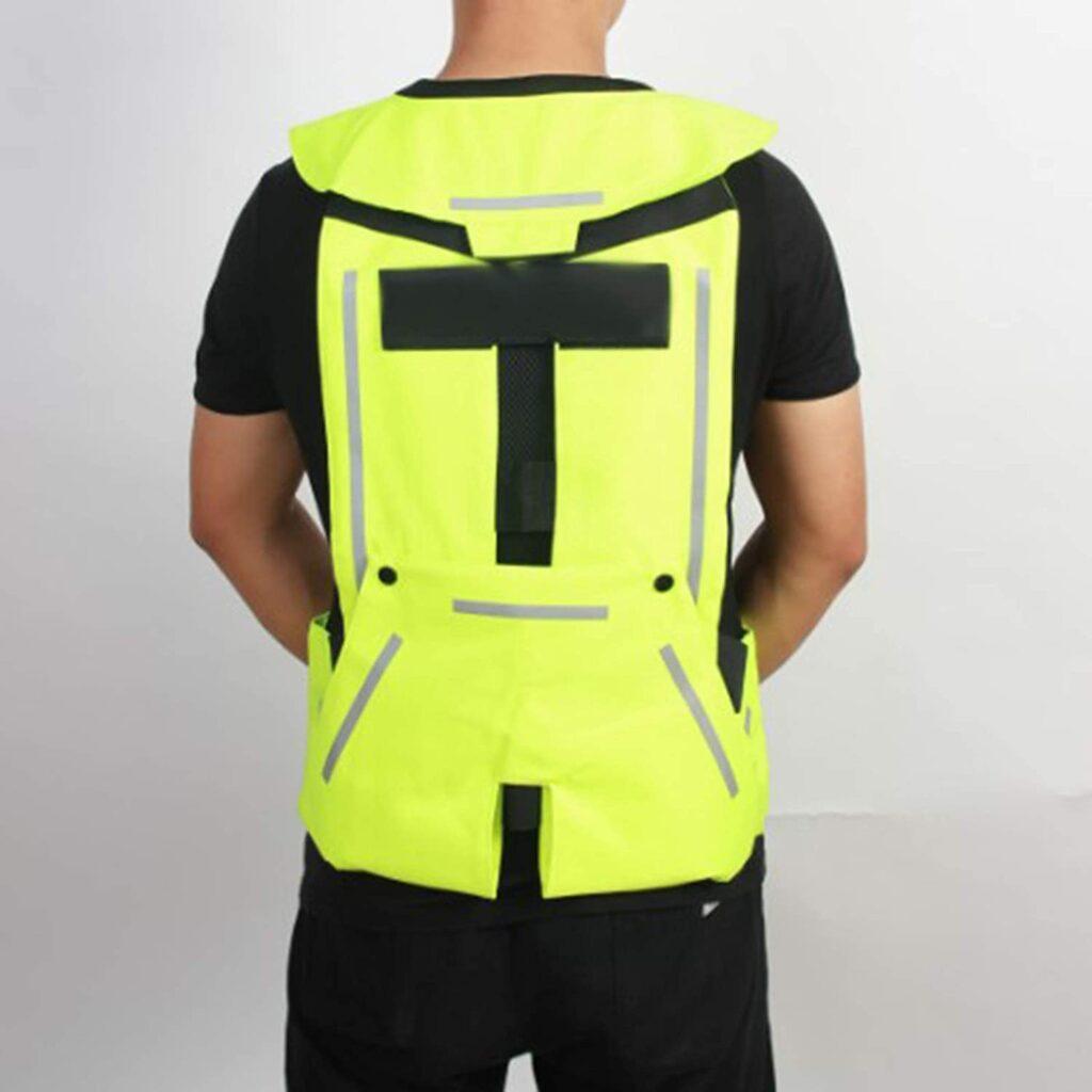 Gilet di Sicurezza Riflettente con Airbag, Gilet da Costruzione con Striscia Argentata, Gilet Ad Alta visibilità per Motociclismo