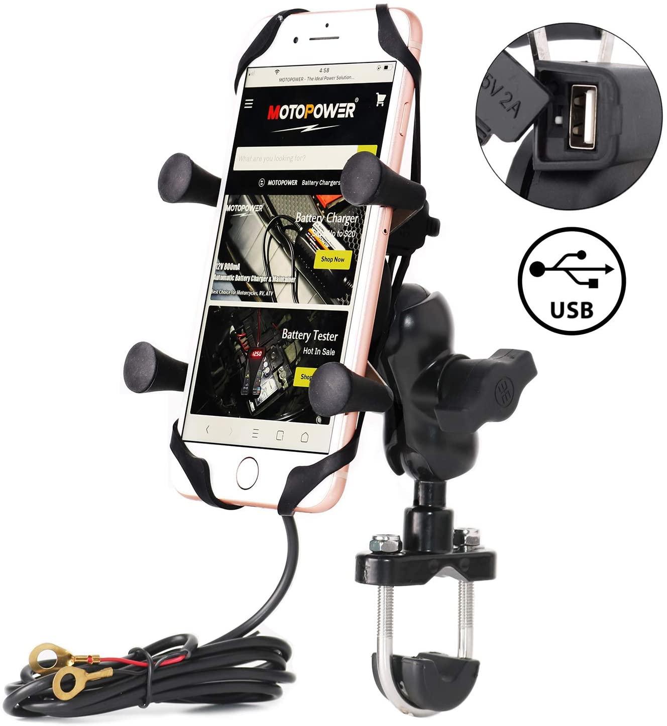 Supporto per telefono cellulare da moto, con caricatore USB, universale, per mountain bike e strada, per cellulare
